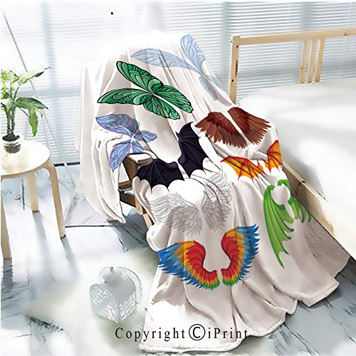 Printed Flannel Sherpa Back Blanket,Flat Vector Set of Colorful Wings of Different Creatures Butterfly Fairy bat Bird Angel and Dragons Elements of Masquerade Costumes Rustic Home Decor -