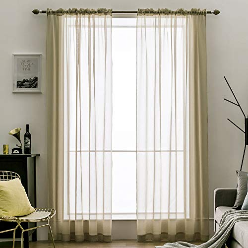 (MIULEE 2 Panels Semi Sheer Window Curtains Elegant Window Voile Panels/Drapes/Treatment Linen Textured Panels for Bedroom Living Room (54X72 Inches Antique Taupe))