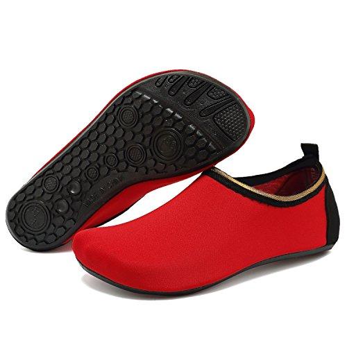Anluke Watersporten Barefootschoenen Sneldrogend Aqua Yoga Sokken Instapper Voor Heren Dames Kinderen F Rood