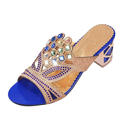 Lolittas Womens Diamante Sandals Size 2-8, Gold Embellished Sparkly Giltter Bling Wedding Bridal Wide Fit High Chunky Heel Peep Toe Shoes Blue
