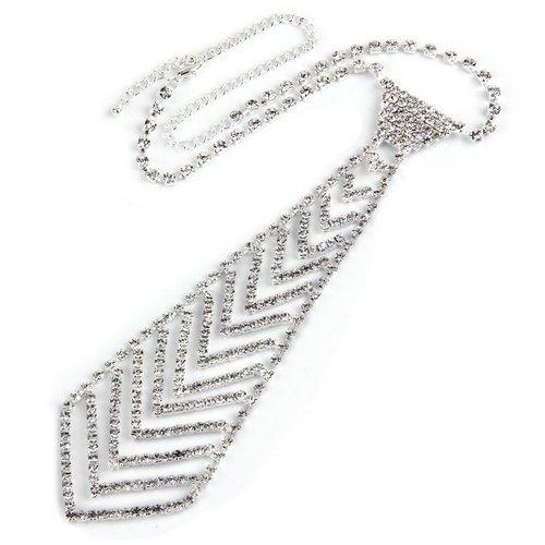 Ecloud Shop Collier Tour de Cou Cravate Plaqué D\'argent Strass 180x49mm Pr Femme