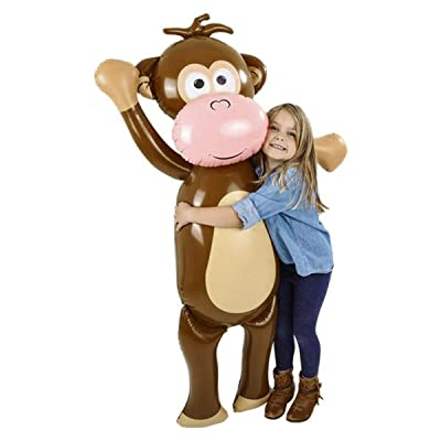 Forest & Twelfth Kids Giant 57 inch Inflatable Monkey – Fun Jungle Animal Toy for Use as Party Favor, Room Décor, Gift, Prize, Giveaway – Ideal for Kids and Toddlers Aged 5+ Years: Toys & Games