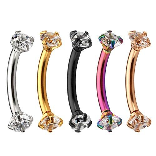 - Jovivi 5pcs 16G 3/8Inch Cubic Zirconia Internally Thread Curved Barbell Eyebrow Ring Piercing Jewelry
