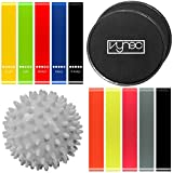 Vynec Exercise Loop Bands & Gliding Discs Core Sliders – For Home Workout, Stretchig, Yoga, Full-Body Exercise, Body Building, Sports Equipment + Masage Ball & 5 Additional Bands for FREE