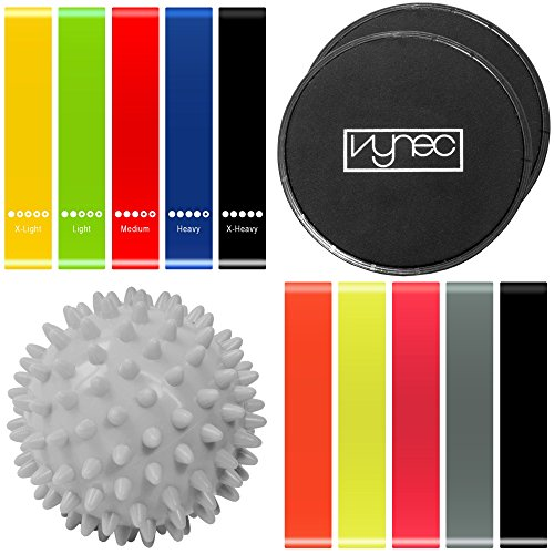 Vynec Exercise Loop Bands & Gliding Discs Core Sliders – For Home Workout, Stretchig, Yoga, Full-Body Exercise, Body Building, Sports Equipment + Masage Ball & 5 Additional Bands for FREE by Vynec