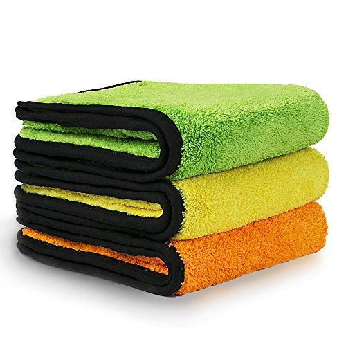 KFZ-Reinigung Handtücher, VacPlus Extra dicke Mikrofaser Handtuch, Trocknen Auto datailing Handtuch, Super Saugfähig, 840gsm (Pack von 3)