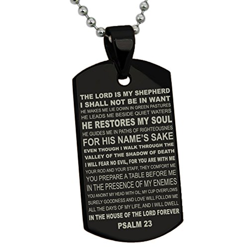 Tioneer Black Stainless Steel Psalms 23 Bible Verse Dog Tag Pendant Necklace