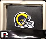 Los Angeles Rams RETRO LOGO Wallet Premium Black LEATHER BillFold Embroidered Bifold Football