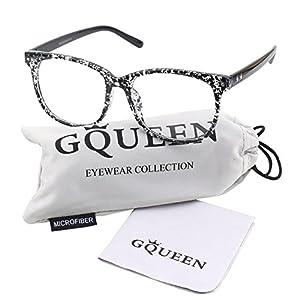 GQUEEN 201581 Large Oversized Frame Horn Rimmed Clear Lens Glasses,Black Spot