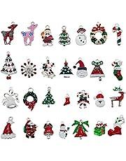 GraceAngie Brand 30PCS Mixed Style Enamel Alloy Christmas Crafts Charms Pendant Findings Send Randomly