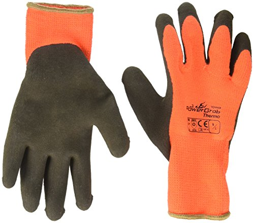 3 Pack Powergrab 41-1400 Thermal Hi-Vis Orange/Black Cold Condition Work Gloves (Large) by Powergrab