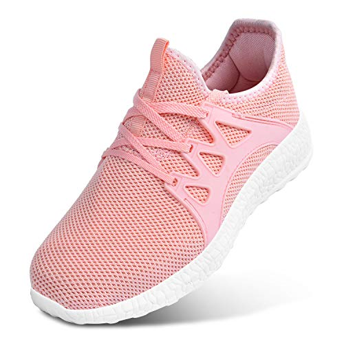 Feetmat Women Walking Shoes Lace up Ultra Lightweight Breathable Mesh Athletic Running Sneakers Pink Size 7 M US