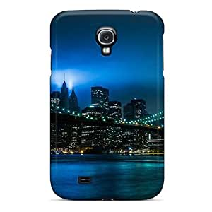 Tpu Case Cover Compatible For Galaxy S4/ Hot Case/ New York Evening Bridge Lights