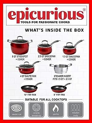 Amazon.com: Epicurious Cookware Collection- Dishwasher Safe ...