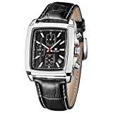 MEGIR Mens Quartz Watches Running Black Leather Strap Chronograph Wrist Watch Relojes Hombre