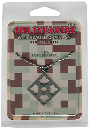"""Amazon.com: 4TH INFANTRY MEDAL WITH BEADED CHAIN 24"""" 100%"""
