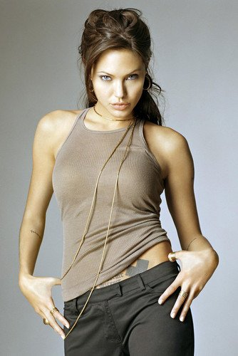 (Angelina Jolie 24X36 Poster Stunning Photo In Tight Vest Revealing Tattoo)