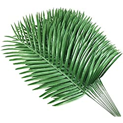 12pcs Artificial Palm Plants Leaves Imitation Leaf Artificial Plants Green Greenery Plants Faux Fake Tropical Large Palm Tree Leaves for Home Kitchen Party Flowers Arrangement Wedding Decorations