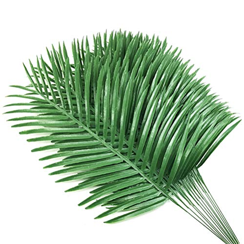 12pcs Artificial Palm Plants Leaves Imitation Leaf Artificial Plants Green Greenery Plants Faux Fake Tropical Large Palm Tree Leaves for Home Kitchen Party Flowers Arrangement Wedding -