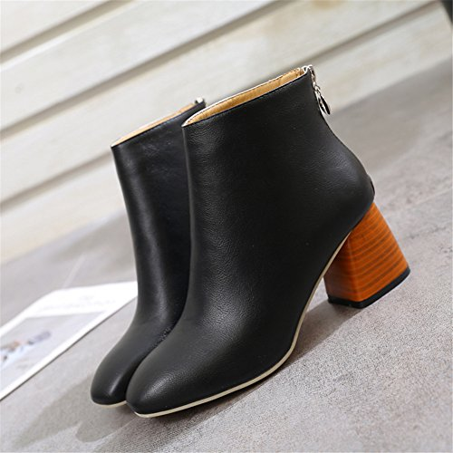 Women Block Heel Boots - Fashion Pointed Ankle Boots Synthetic Fur Lined Warm Winter Shoes Zipper Grip Sole Office Party Shoes For Women Ladies Black A 86MjSuqkMF