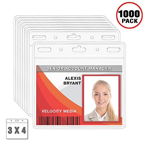 MIFFLIN Plastic Card Holder Horizontal 3x4 Inch Quick Load No Zipper Name ID Badge Clear Bulk 1000 ()