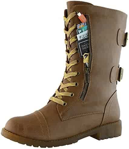 8ca2357b86b DailyShoes Women s Military Combat Lace up Mid Calf High Credit Card Knife  Money Wallet Pocket Boots