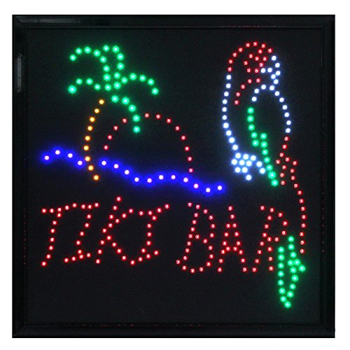 Crystal Art Sign Of The Times Tiki Bar LED Lighted Sign, 20 x 20 Inch