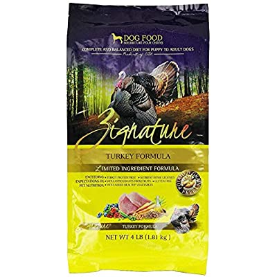 Zignature Turkey Dry Dog Food, 4-Pound Bag.