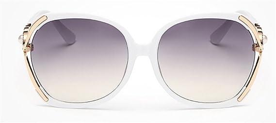 Wealsex elegant Damen Sonnenbrille Retro Trend Metallrahmen Sunglasses mit Strasssteine Dekoration (Weiß) WhP7CW