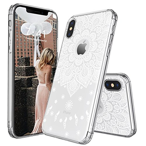 iPhone X Case, iPhone X Slim Case, MOSNOVO White Peace Mandala Floral Lace Clear Design Printed Transparent Plastic with Soft TPU Bumper Protective Back Phone Case Cover for Apple iPhone (Soft Plastic Tpu Case)