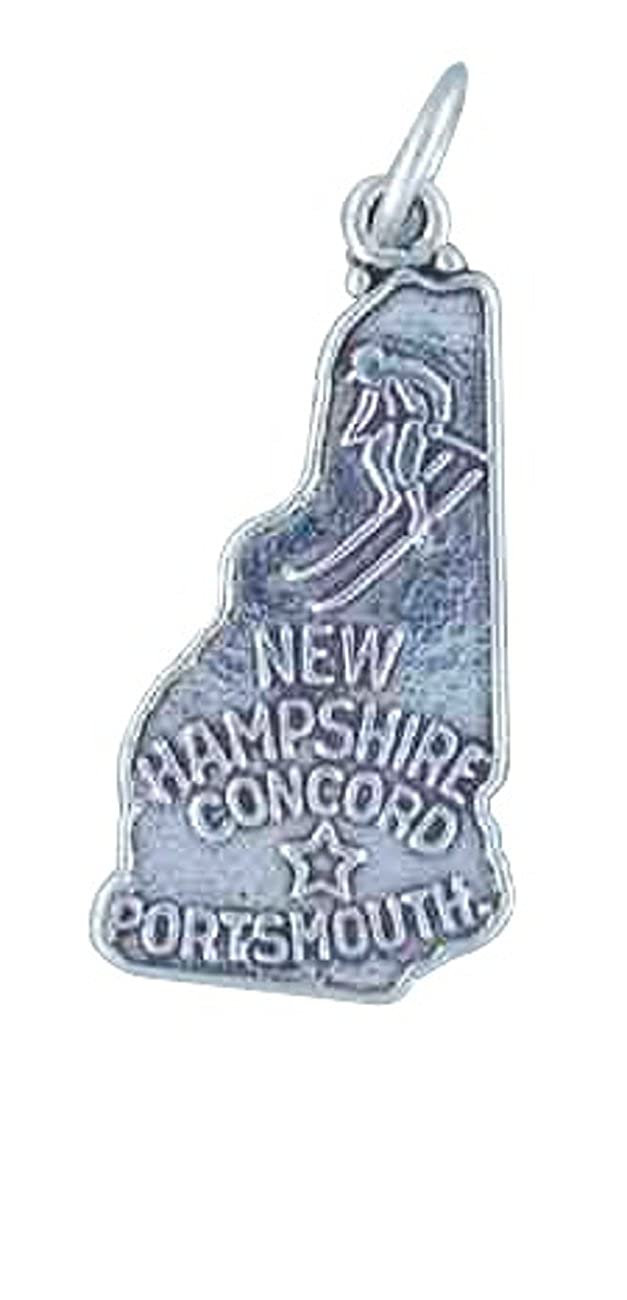 Sterling Silver 7 4.5mm Charm Bracelet With Attached NEW HAMPSHIRE State Map Outline Word Charm