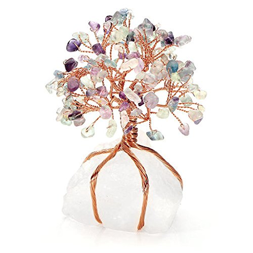 - PESOENTH Fluorite Healing Crystals Money Tree Feng Shui Wealth Ornament Copper Tree of Life Clear Quartz Crystal Base Reiki Office Living Room Table Decoration Good Luck Health Figurine Gift