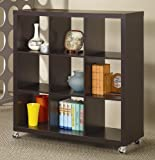 Home Office Wood Bookcase with Casters in Cappuccino Finish For Sale