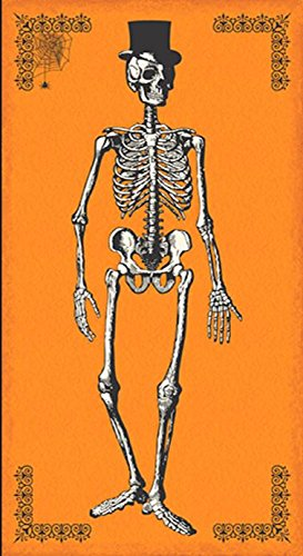 Andover 'Chillingsworth' Halloween Skeleton Panel on Orange Cotton Fabric 45 Inches long by 24 inches wide (Halloween Panels For Quilting)
