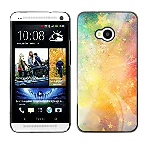 Qstar Arte & diseño plástico duro Fundas Cover Cubre Hard Case Cover para HTC One M7 ( Stars Universe Neon Light Galaxy Painting)