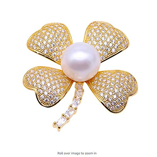 LTH12 Hair Jewelry,Brooches & Body Jewelry - Lucky Four Leaf Clover Brooches with Big 13mm White Pearl Natural Freshwater herb Brooch(Love,Health,Honor,Fortune) 1 PCs