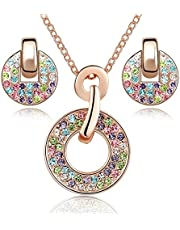 "Crystalline Azuria Women 18 ct Rose Gold Plated Round Colorful Multi Crystals from Swarovski Set Pendant Necklace 18"" Stud Earrings"