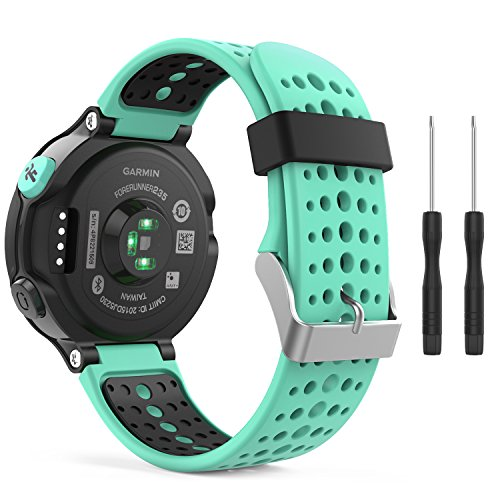 393 Mint (MoKo Garmin Forerunner 235 Watch Band, Soft Silicone Replacement Watch Band for Garmin Forerunner 235/220/230/620/630/735XT - Mint Green & Black)