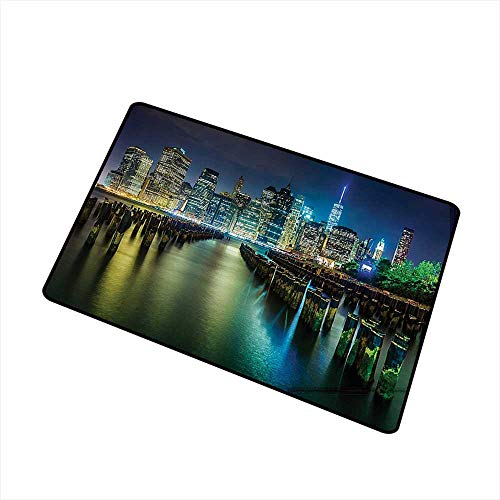 (Mdxizc Interior Door mat New York Pier Pilings and Manhattan Skyline at Night Downtown Urban East River W20 xL31 Easy to Clean Dark Blue Green)