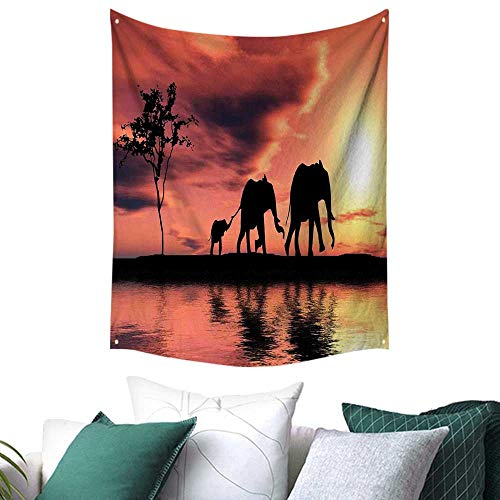 Anshesix Elephants Decor Tapestry for Bedroom Elephant Silhouettes by a River Africa Animals Wildlife Adventure Landscape Restaurant/Shop Decoration 60W x 80L INCH