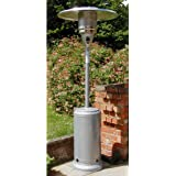 Castmaster Luxury Gas Patio Heater - FREE Regulator & Hose, Wheel kit - Cover and ground anchors* - Light Silver powder coated finish*