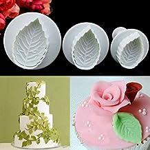 Huphoon Pop 3pcs Rose Leaf Cake Fondant Reusable Sugar craft Ice Cube Muffin Molds Non-stick 3D Baking Ware for Desserts Making