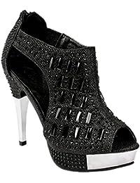 Women Glitter Crystal Rhinestone Peep Toe Platform High Heel Evening Dress Bootie Sandals