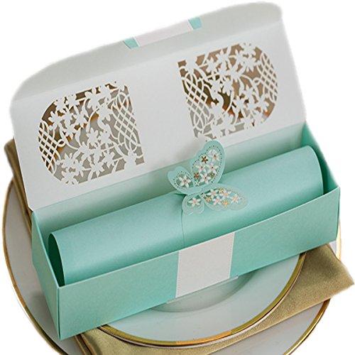 KLN_Dress 50Pcs Scroll Invitations,Scroll Wedding Invitations,Scrollwork Invitation for Wedding Proposal, Invitation or Secret Message (Custom Inside Page, Blue)
