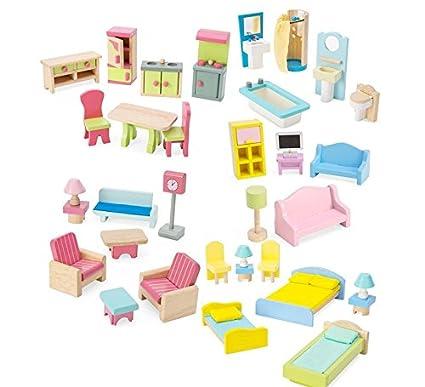 Amazon Com Dollhouse Furniture Set Of 35 Toys Games