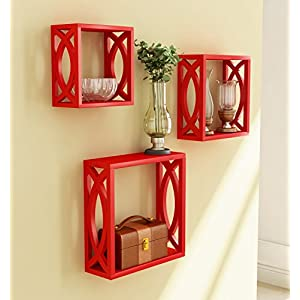 Home-Sparkle-Wooden-Wall-Shelf-Cube-Design-Wall-Mounted-Shelves-for-Living-Room-Set-of-3-Red