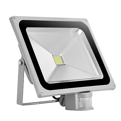TEquem LED 100W luz de inundación con detector de movimiento 900lm ...