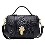 PIJUSHI Leather Crossbody Shoulder Handbag for Women Designer Floral Purse 99819 Black