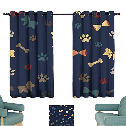 Partition Fabric Straight Panel - Warm Family Curtain for Kids Seamless Dog Paw Pattern Suitable for Bedroom Living Room Study, etc.