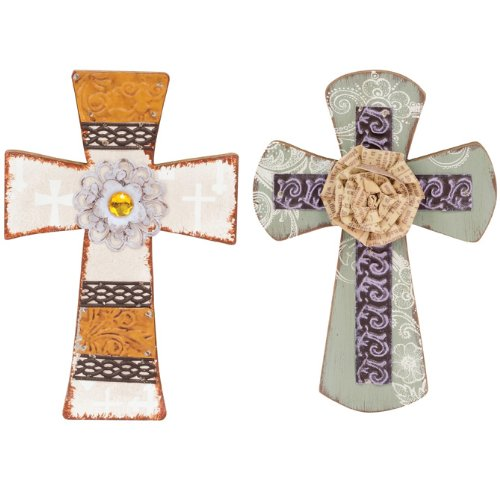 Vintage Everyday Assorted Wall Crosses, Assorted 2, 6.25 x 9 x 1.5 Inches by Carson Home